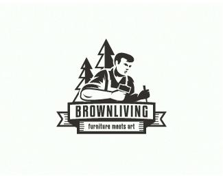 木材工人logo标志设计