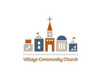 幾何體風格的農村教會標識