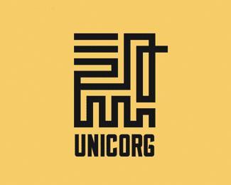 獨角獸形狀的字體設計標志Unicorg