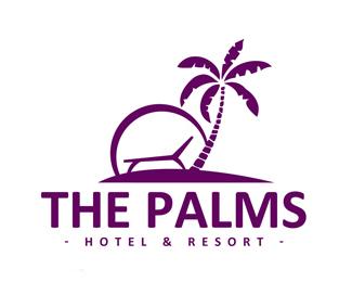 度假村的棕榈酒店标志设计