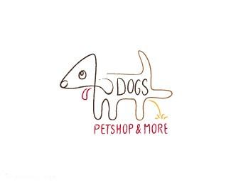 宠物店搞笑标志4DOGS